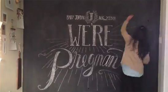 Adorable Stop Motion Pregnancy Announcement on a Chalkboard Wall I like the song - to use for Jackson's birthday video