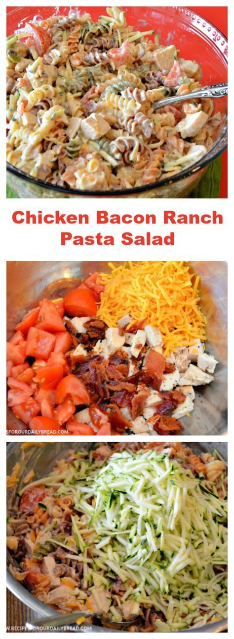 Super #Easy #recipe #Chicken #Bacon #Ranch #Pasta #Salad is so delicious served warm or cold right out of the refrigerator. #Chicken Bacon Ranch Pasta Salad