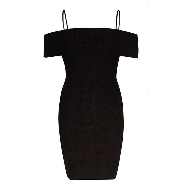 River Island Black textured bardot bodycon midi dress (£18) ❤ liked on Polyvore featuring dresses, short dresses, black, sale, women, ruffle cocktail dress, bodycon mini dress, short sleeve cocktail dresses, midi cocktail dress and ruffle dresses