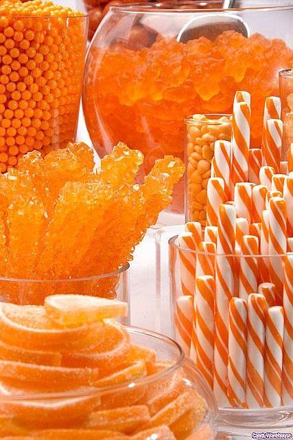 Orange sweets!: Candy Buffet, Candy Bars, Idea, Sweet, Orange Orange, Colors, Orange Candy, Color Orange, Orange Crush