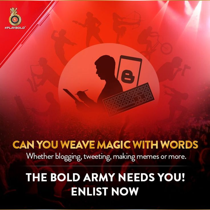 RCB Challengers call out for writers to contribute stories for online content for social/website.