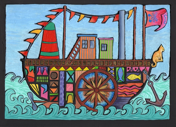 Dream Boat - painted woodcut