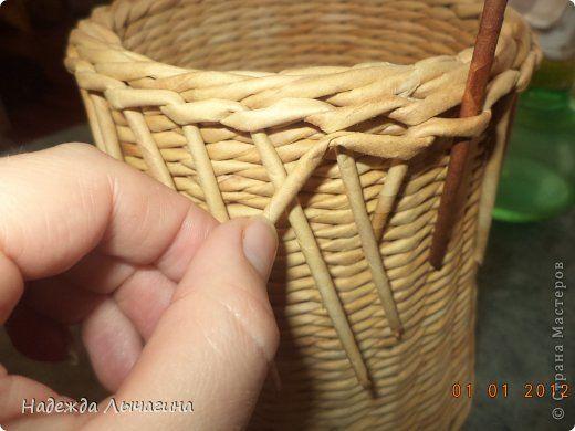 Мастер-класс Поделка изделие Плетение МК Загибки Бумага газетная Трубочки бумажные фото 27