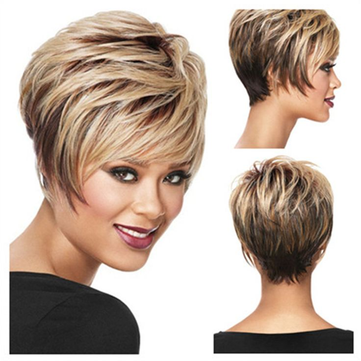 1PC Blonde Highlight Color Part Wig Natural Kinky Sexy Curly Short Wigs Synthetic For Lady Women Free Shipping