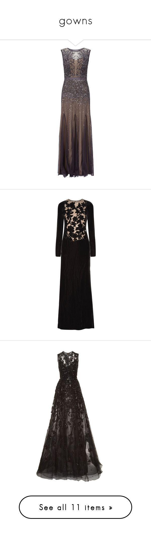 """""""gowns"""" by mia-christine ❤ liked on Polyvore featuring dresses, gowns, long dress, petite, long sleeve dresses, short sleeve dress, sequin evening dresses, petite maxi dresses, beaded evening dresses and black"""