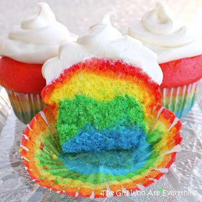 Rainbow Party:  Rainbow cupcakes!
