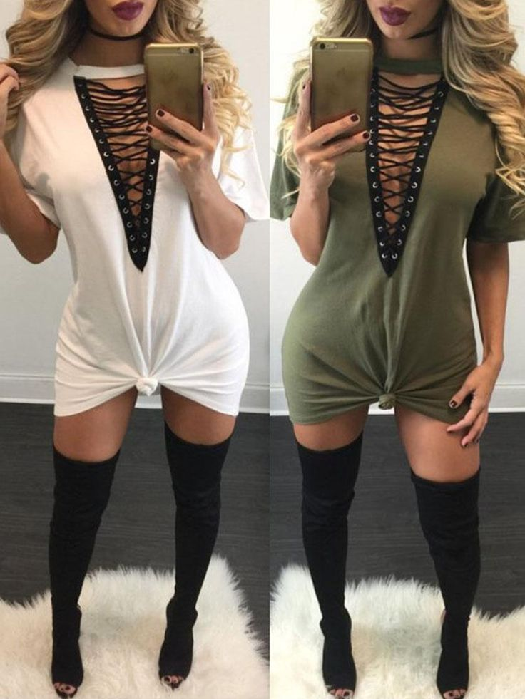 Lace Up Half Sleeves Tee Dress