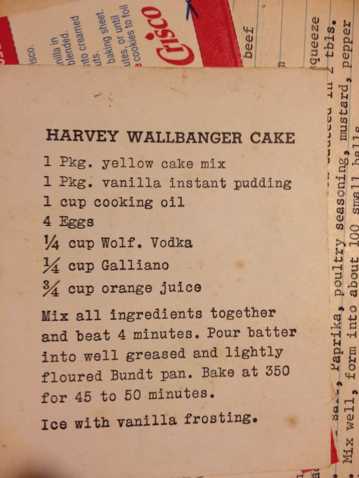 Harvey Wallbanger Cake - Oh my gosh!  I remember this cake being served at my parents' parties in the 60's