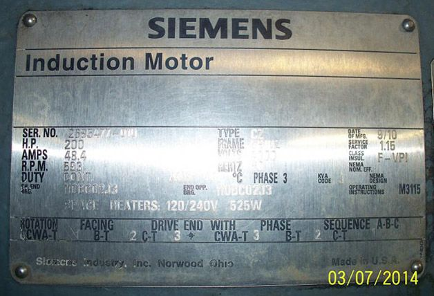 Siemens Induction Motor Nameplate Motor Pinterest