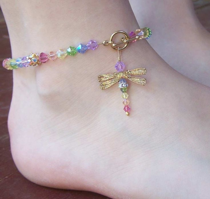 Dragonfly Beaded Anklet - Birthstones & 28 More Swarovski Colors. $44.00, via Etsy. Simply beautiful