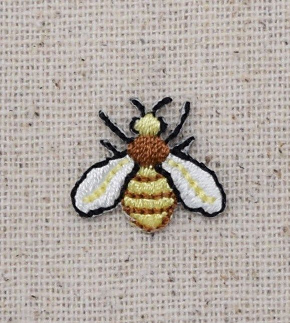 Iron On Embroidered Applique Patch - Yellow/Black Bee Mini Hornet Yellowjacket #Unbranded #Embroidered