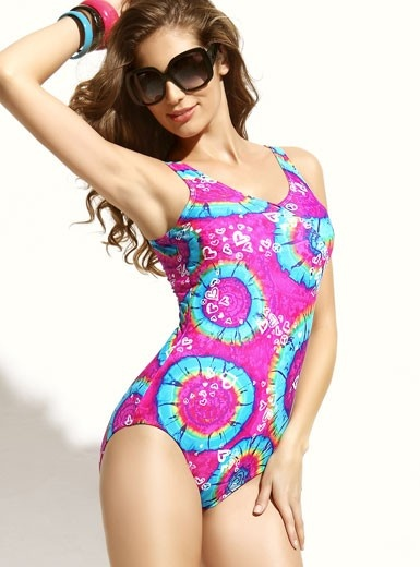 One-piece Passion Of Love Red and Green Color Printing  Swimwear Swimsuit @Merpher. L