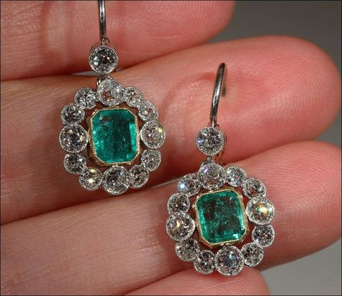 Edwardian emerald and diamond earrings 1905-1910 | Emeralds set in 18 karat gold bezels with 12 old European cut diamonds set in platinum bezels (with an extra one at the top for added sparkle).  All stones have millegrain mounts | Item ID:  ESC12277V