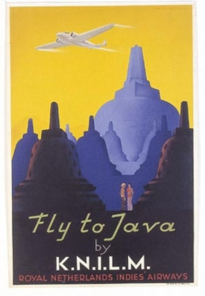 Johannes Frederik Lavies (Den Haag 1902- Gorinchem 2005), 'Fly to Java by K.N.I.L.M Royal Netherlands Indies' Airways', 1938, drukinkt op papier, hoogte: 61 cm, breedte: 40 cm, AB17616, Legaat Lavies