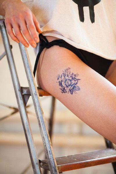 myTaT dark blue vintage flowers temporary tattoo