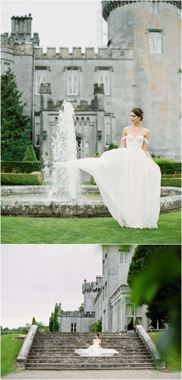 Wedding photos at Dromoland Castle in Ireland with a @tatyanamerenyuk gown