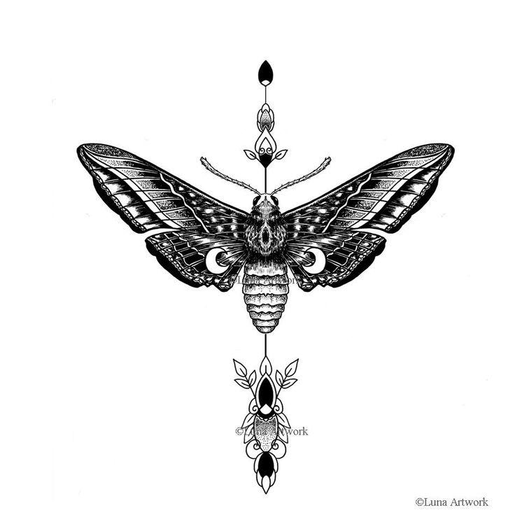 """Idee: Motte Da Motten Nachtfalter sind und vom Mond angezogen werden, passen sie zum Thema """"Schwarze Muse""""."""