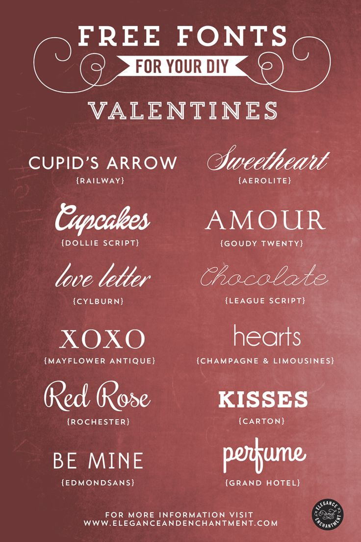 Free Fonts for your DIY Valentines -- tough decision for which one to choose, they're all so sweet! #freefonts #valentinesday