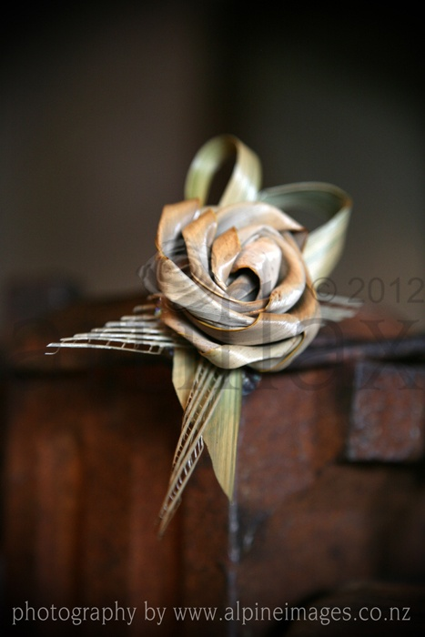 Artiflax - weddings - Flax flower corsage    photograph by Alpine Images