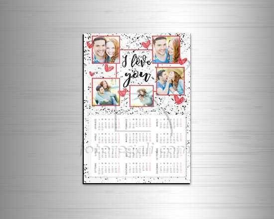Calendario A4 magnetico con grafica collage