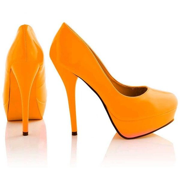 Ashly Green Neon Platform Court Shoe in Orange ($12) ❤ liked on Polyvore featuring shoes, pumps, heels, orange shoes, neon platform pumps, neon green shoes, high heel pumps, orange pumps and neon pumps