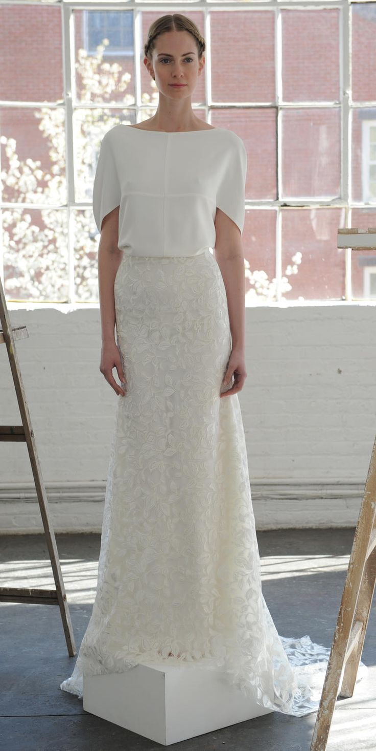 Short sleeve gown with lace details | Lela Rose Spring 2017 | https://www.theknot.com/content/lela-rose-wedding-dresses-bridal-fashion-week-spring-2017