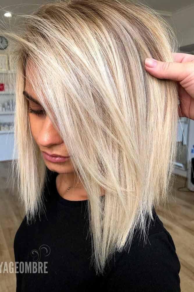 Side Parted Blonde Lange Bob Gerade Haar Haartyp Frisuren Bobhaarschnitt Blonde Bobhaarschnitt Fri Hair Styles Straight Hairstyles Long Hair Styles