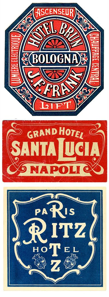Luggage labels / Art of the Luggage Label.   I find these beautiful, inspiring and unique. From the blog link, click through to the The Art of the Luggage Label's flicker photostream for many more examples. -JFG