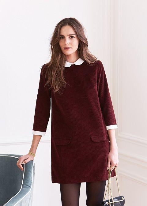 Robe Indie Tout comme la blouse, la robe Indie est une robe 2 en 1. Un style écoliere british avec les jolis cols et poignets en soie ou une robe droite et col rond si l'on décide de retirer ces éléments. • Disponible en prune et gris foncé chiné • Robe