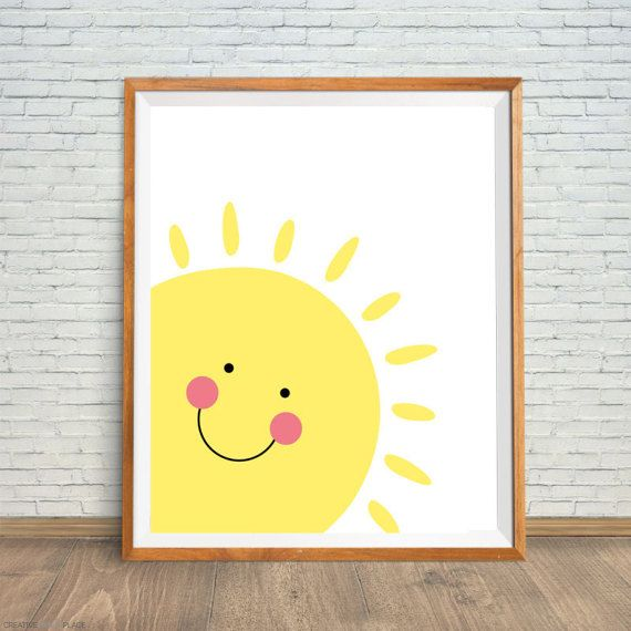 Smiling sun printable art yellow sun print sun kids wall