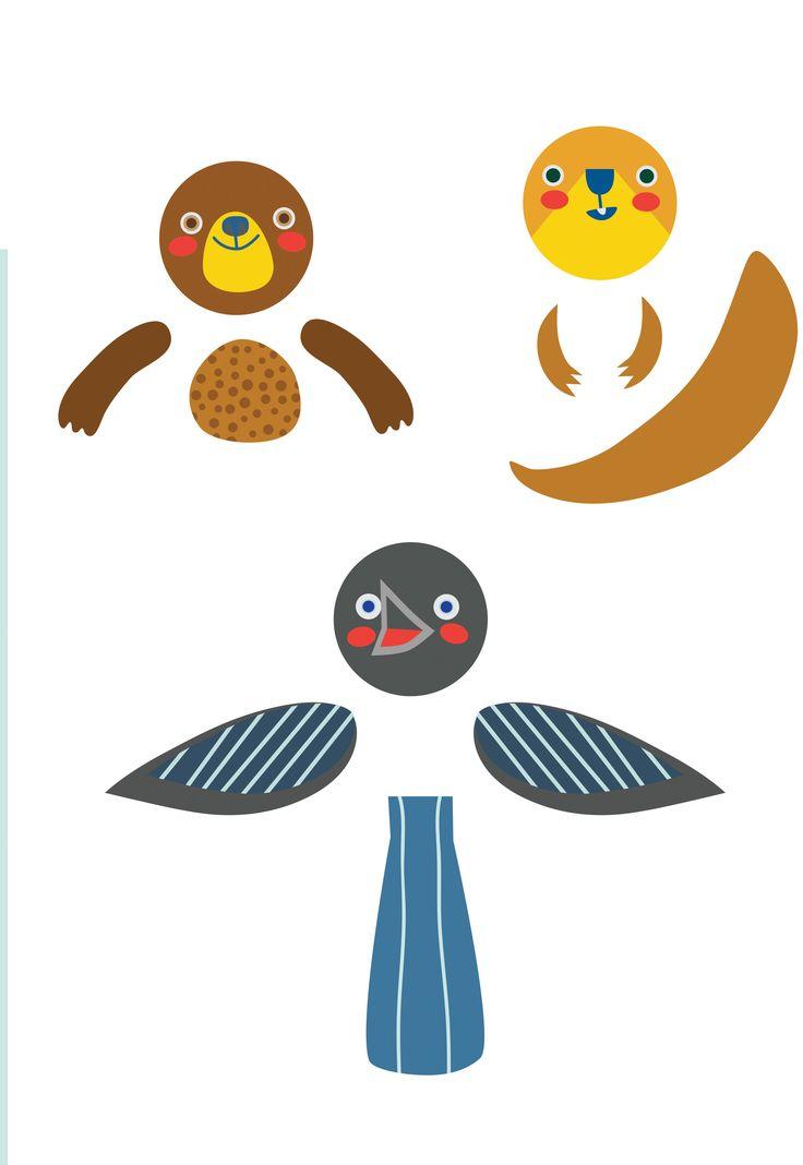 Pikku Kakkosen tulostettavat eläinhahmot. Hahmot voi liimata WC- tai talouspaperihylsyyn tonttujen tapaan. Free printable pattern. lasten | askartelu | joulu | käsityöt | koti | leikki | DIY ideas | kid crafts | christmas | home | Pikku Kakkonen