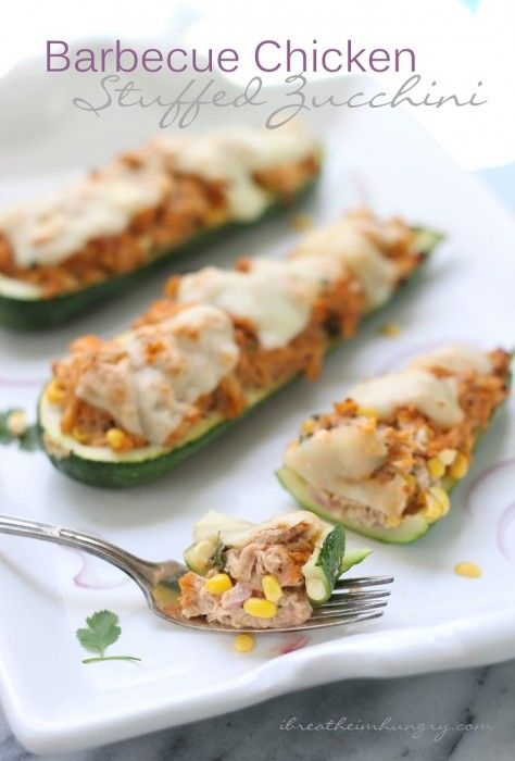 BBQ Chicken Stuffed Zucchini – a Low Carb and Gluten Free Recipe from I Breathe I'm Hungry.  Keto and Atkins Diet friendly!