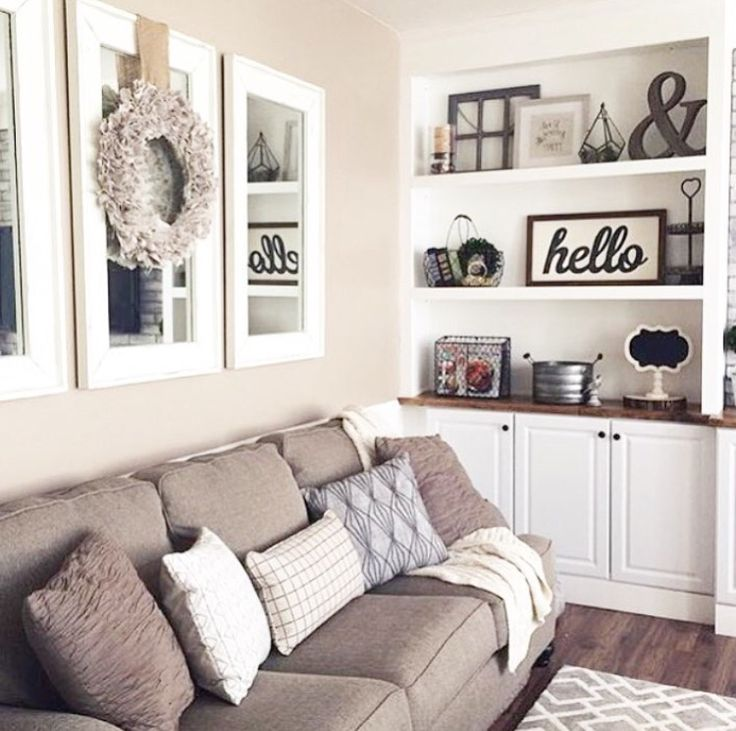 Farmhouse Shelving Decor   Love The Open Shelving In This Neutral Living  Room In Farmhouse Style Decor