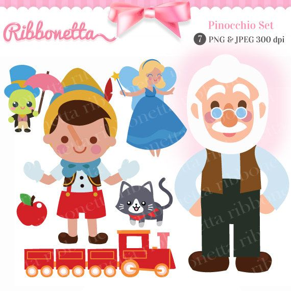 Pinocchio Story Fairy Tale Cute Kawaii Clipart Card Por