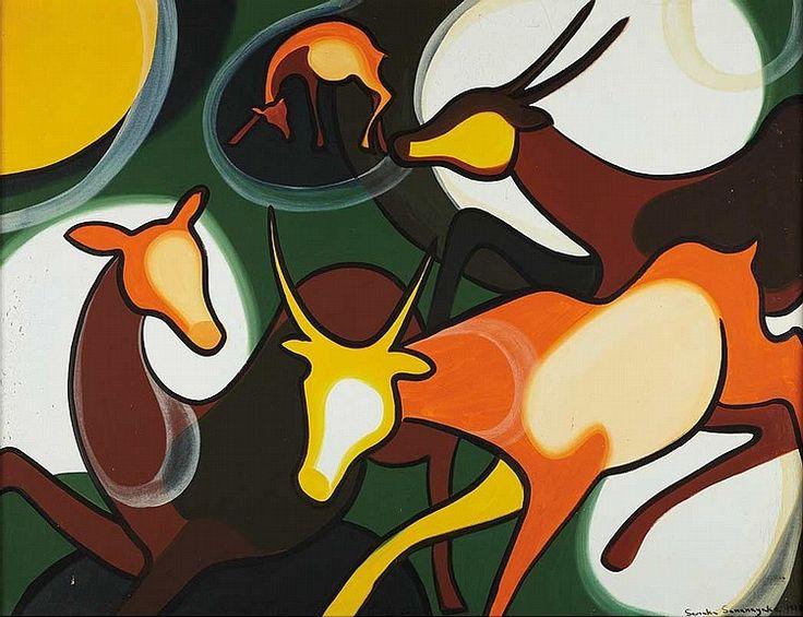 'Deer' by Senaka Senanayake, 1973. Oil on canvas.