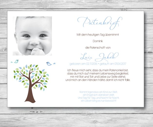 Der Patenbrief bzw. der Brief des Taufpaten an den Täufling ist eine der schönsten Geschenkideen für diesen ganz besonderen Anlass.   Der Patenbrief ist gleichzeitig ein Versprechen des Paten an...