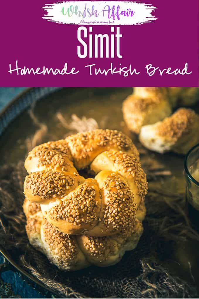 43f7aa40c7 Turkish Bread Simit is a tender bread encrusted with sesame seeds which is  served with salad