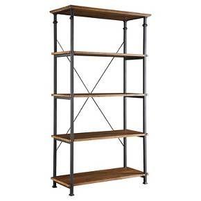 Ronay Rustic Industrial Wide Bookshelf Pine - Homelegance : Target