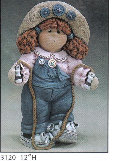 "Button Buddy Girl TomBoy Figurine 12"" 3120 Gare ***, Dolls to Make"