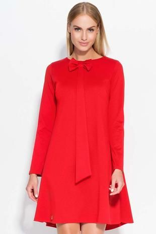 Red A style dress with cute bow