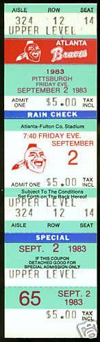 SEPT 2 1983 ATLANTA BRAVES VS PITTSBURGH  PIRATES FULL TICKET NMMT FREE SHIPPING #Tickets