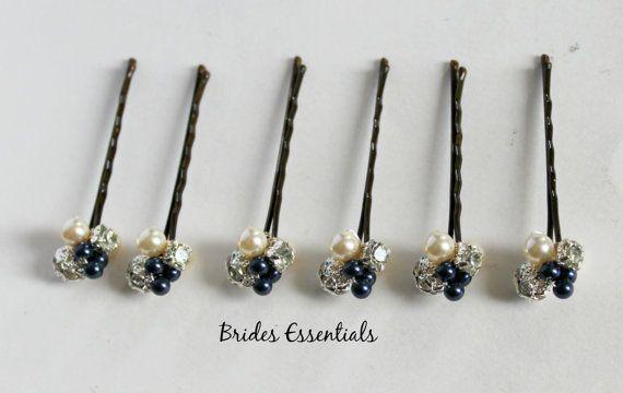 Cabello azul marino 6 alfileres pinza de pelo por BridesEssentials