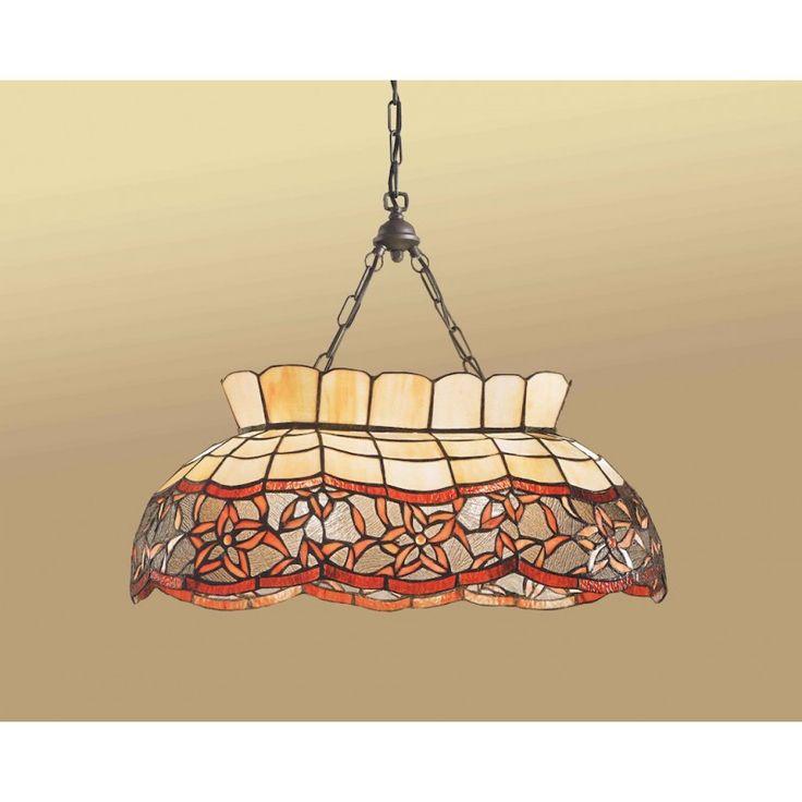 Lampada a Sospensione Tiffany lunga, perfetta per illuminare il tavolo in cucina o in sala da pranzo. 2 lampadine con attacco E27. Ben 620 pezzi di vetro.