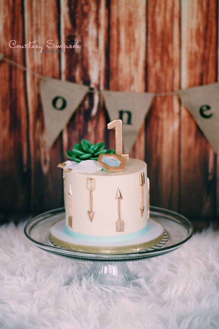 Teagan S Perfect Succulent Smash Cake Boho Bohemian