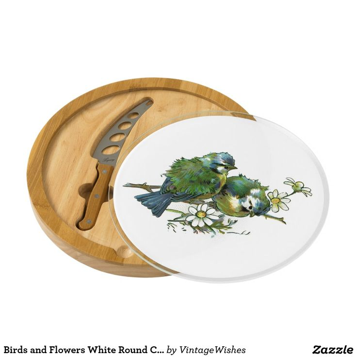 Birds and Flowers White Round Cheese Board - #vintagewishes #windywinters #zazzle