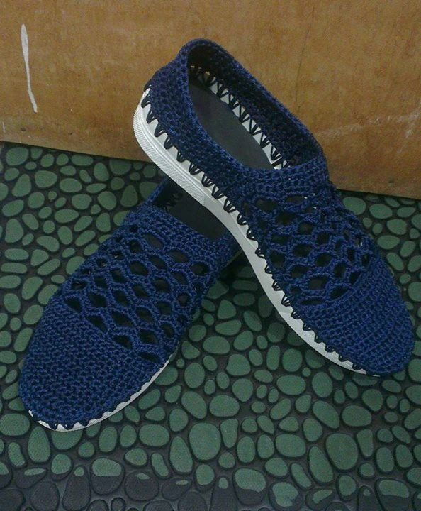 Crochet shoes with rubber sole