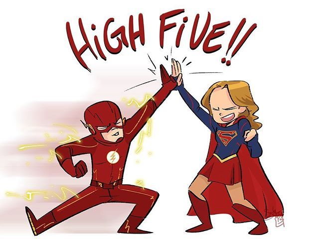 How cute is this awesome #TheFlash x #Supergirl crossover art? ⚡️❤️ (Credit: @comickergirl on Twitter)