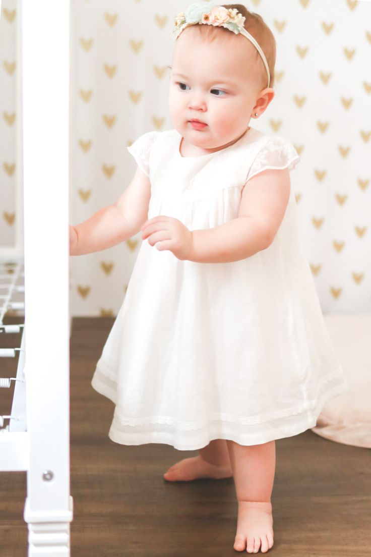 White dress 1st birthday photoshoot in 2020 1st birthday