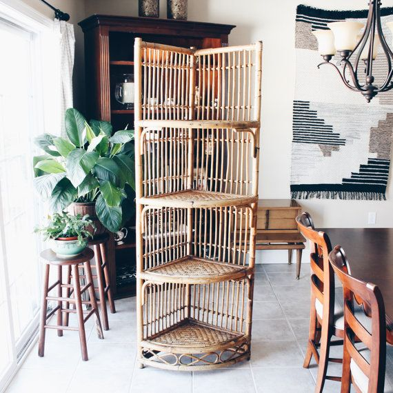 // Unique & Stunning Vintage Rattan/Bamboo 4 Tier Corner Shelf  :: CONDITION ::  Shelf is in good vintage condition. There are many areas where