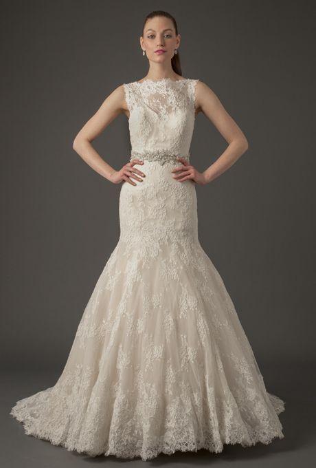 Danielle Caprese Wedding Dress - Spring 2014. Lace mermaid wedding dress with high illusion neckline and beaded belt.